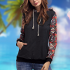 Bohemian Printed Black Hoodie Winter Top