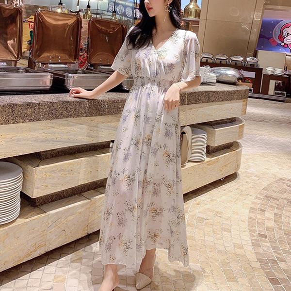 Floral Printed Waist Elastic Long Dress - White