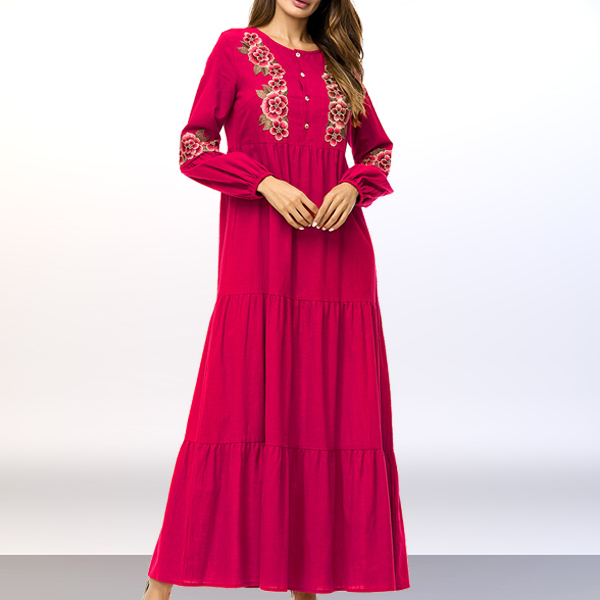 Frilled Hem Embroidered Long Sleeves Muslim Dress - Red