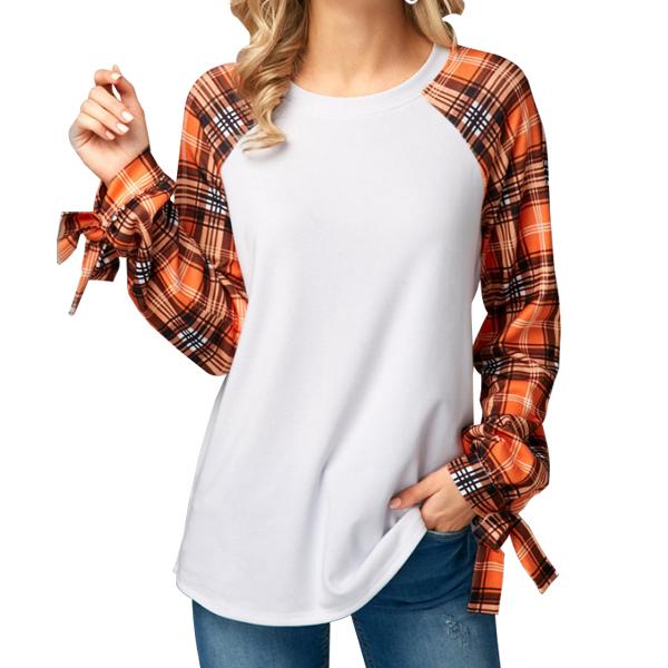 Orange Checks Long Sleeves White T-Shirt