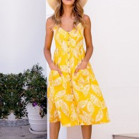 Elastic Back Printed Floral Midi Dress - Yellow