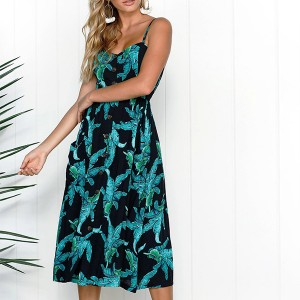 Elastic Back Printed Floral Midi Dress - Black