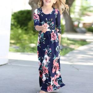 Kids Wear Floral Printed Dress - Dark Blue