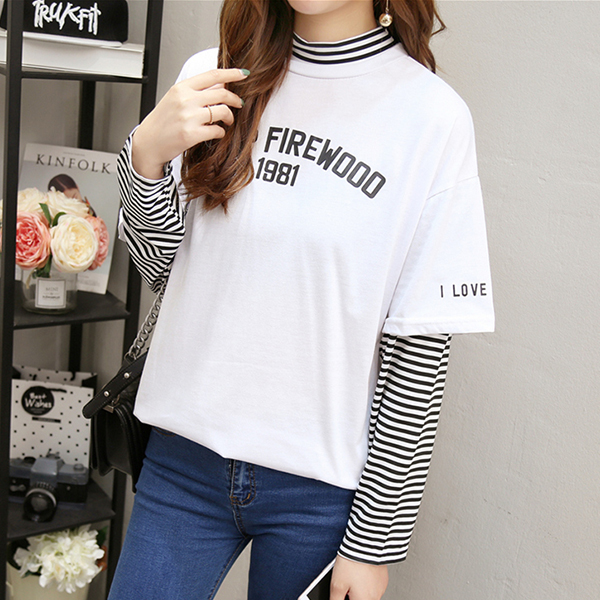 Striped Contrast Fake Two Piece T-Shirt - White