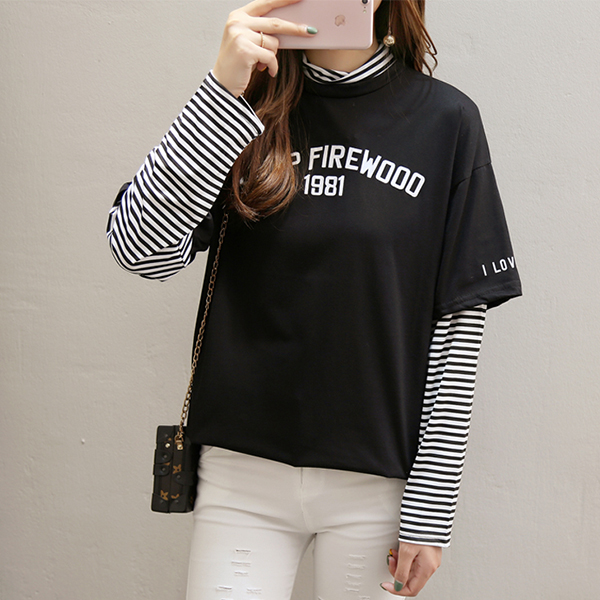 Striped Contrast Fake Two Piece T-Shirt - Black