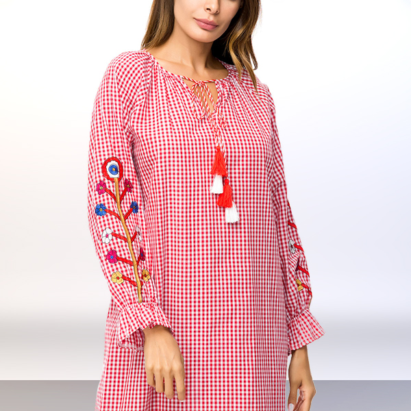 Thin Checks Loose Embroidered Muslim Long Dress