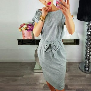 Boat Neck Waist Belt Summer Mini Dress - Grey