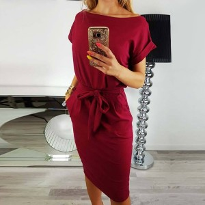 Boat Neck Waist Belt Summer Mini Dress - Burgundy