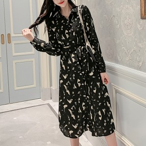 Camouflage Shirt Collar Casual Midi Dress - Black