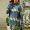 Geometric Prints Stand Neck Full Sleeves T-Shirt - Blue