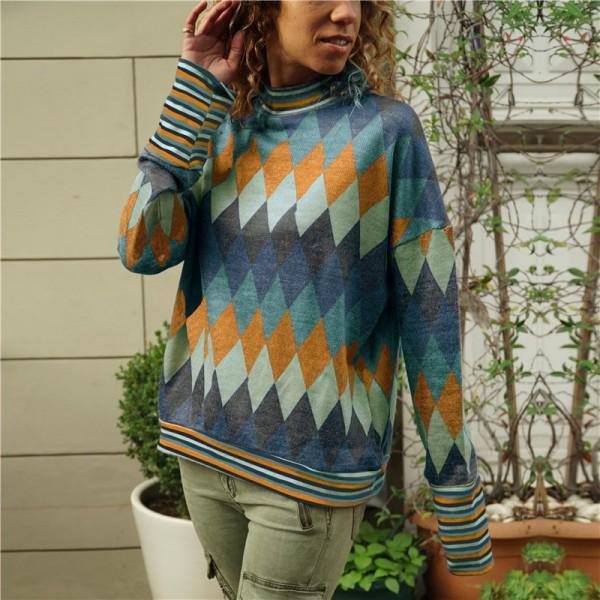 Geometric Prints Stand Neck Full Sleeves T-Shirt - Orange