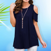 Cold Shoulder Loose Party Top - Dark Blue