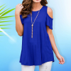 Cold Shoulder Loose Party Top - Blue