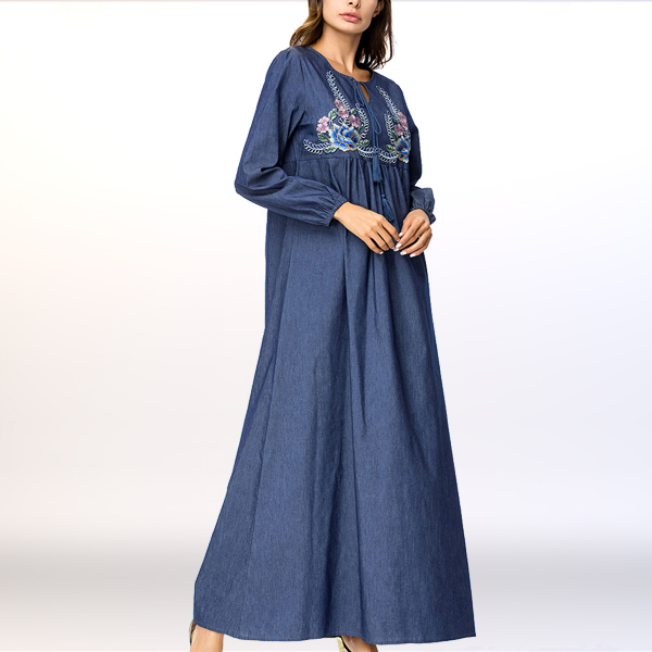 Embroidered String Neck Pleated Loose Muslim Dress