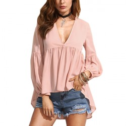 Women Tops Pleated Deep V-Neck High Low Shirt Loose Shirt