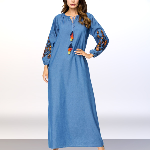 Colorful Tassel Floral Art Long Muslim Dress - Blue