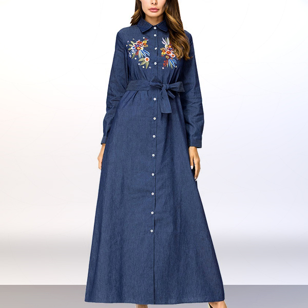 Shirt Collar Button Up Long Muslim Dress - Dark Blue