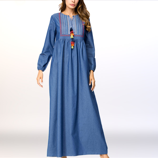 Colorful Tassels Embroidered Pleated Muslim Dress