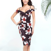 Sexy High Elastic Printed Pencil Hip Dress Black Floral