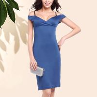 Beautiful Solid Color Off Shoulder Bodycon Blue Dress