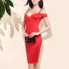 Beautiful Solid Color Off Shoulder Bodycon Red Dress