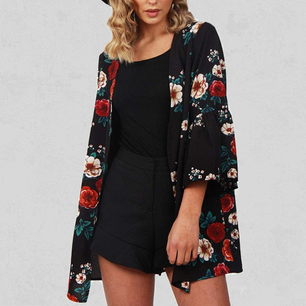 Floral Prints Quarter Sleeved Beach Cardigan