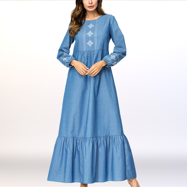 Flared Hem Embroidery Sleeved Long Muslim Dress