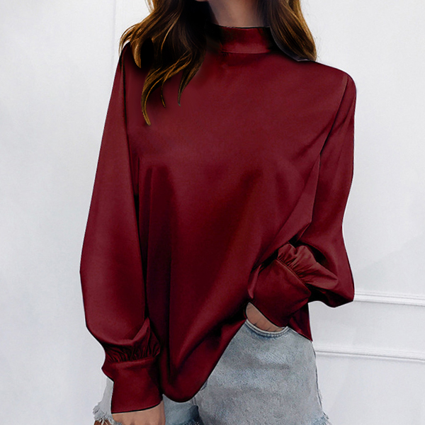 Full Sleeved Stand Up Collar Loose Top - Burgundy
