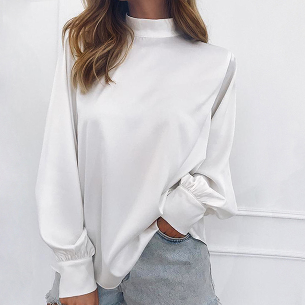 Full Sleeved Stand Up Collar Loose Top - White