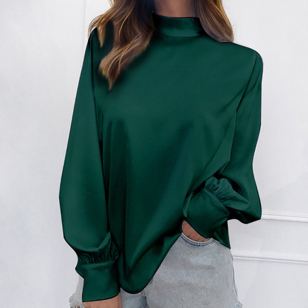 Full Sleeved Stand Up Collar Loose Top - Green