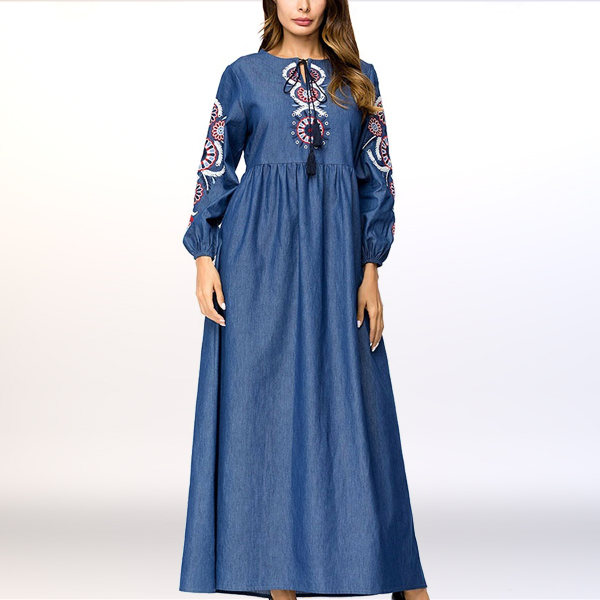 Embroidered Waist Elastic Muslim Maxi Dress