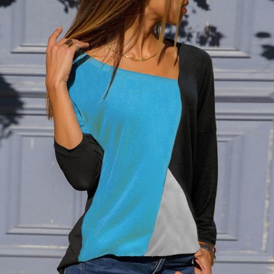 Blue With Black Patched Contrast Casual Top