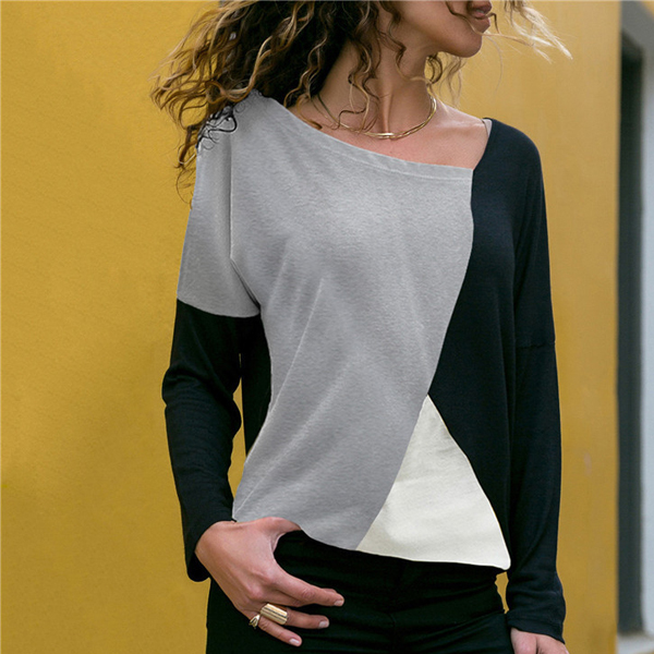Multicolor Patched Contrast Casual Top - Grey
