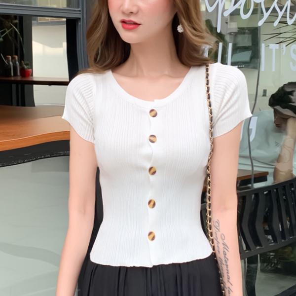Round Neck Striped Pattern Button Up Top - White