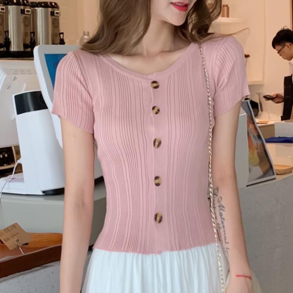 Round Neck Striped Pattern Button Up Top - Pink
