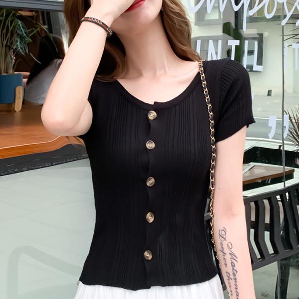 Round Neck Striped Pattern Button Up Top - Black