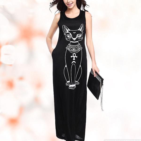 Latest Ladies Fashion Style Cartoon Cat Cotton Strap Dress Black