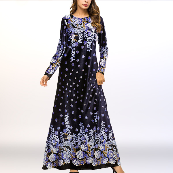 Shiny Velvet Boho Prints Loose Muslim Dress - Dark Blue