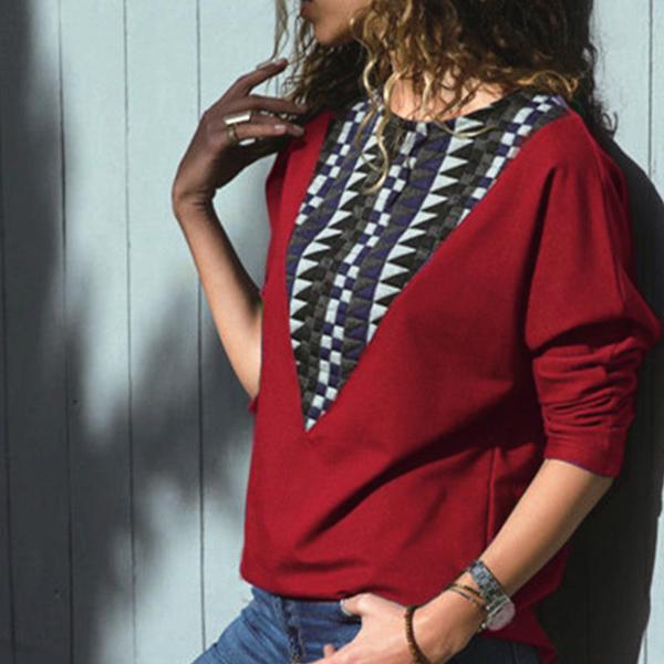 Boho Texture Printed Round Neck T-Shirt - Burgundy