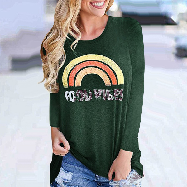 Digital Prints Full Sleeved Casual T-Shirt - Green