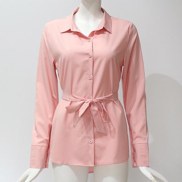 Lapel Long Sleeve Women Casual Loose Long Shirt - Pink