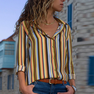 Striped Multicolor Contrast Casual Collar Shirt - Yellow