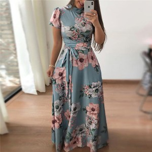Printed Floral A-Line Beach Maxi Dress - Multi Color
