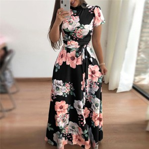 Printed Floral A-Line Beach Maxi Dress - Black
