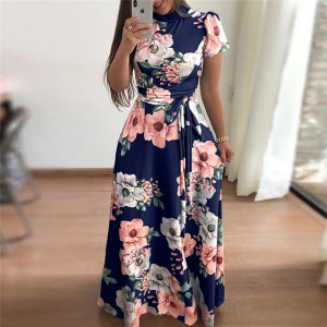 Printed Floral A-Line Beach Maxi Dress - Dark Blue