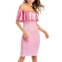 Pink Shiny Off Shoulder Slim Bodycon Mini Dress
