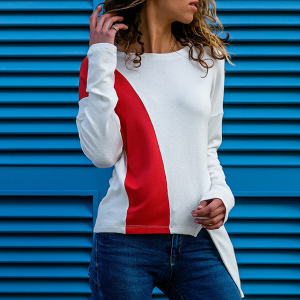 Double Contrast Boat Neck Full Sleeves Top - White