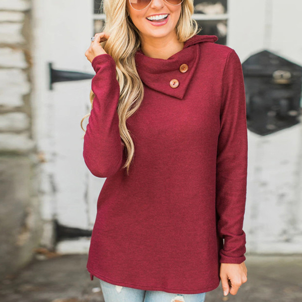 Double Collar Irregular Hem T-Shirt - Burgundy