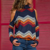 Printed O Neck Full Sleeves T-Shirt - Multicolor