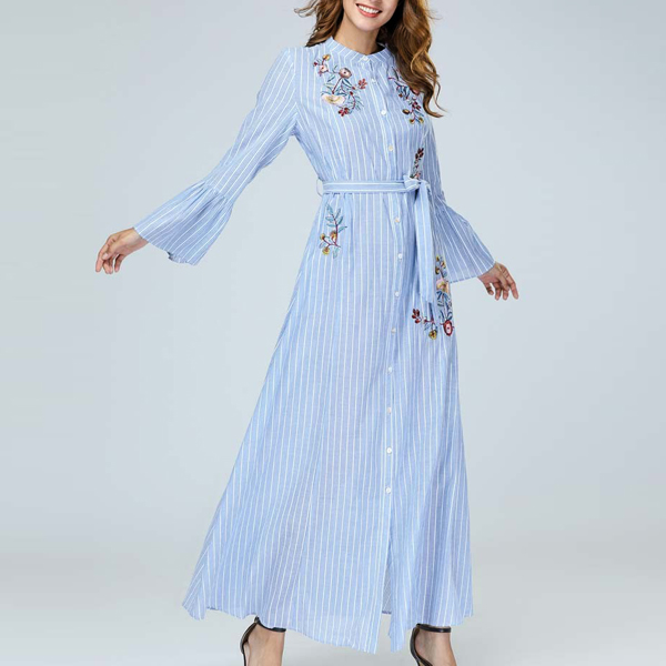 Embroidered Waist Knotted Loose Muslim Dress - Blue